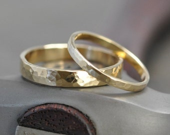 Wedding Ring Set, 18K Yellow Gold, Wedding Band Set, 2mm and 4mm, customizable, Sea Babe Jewelry