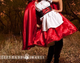 Little Red Riding Hood Dress and Cape  Storybook  Fairytale Halloween Costume Custom Size  including Plus Sizes Womens Adults