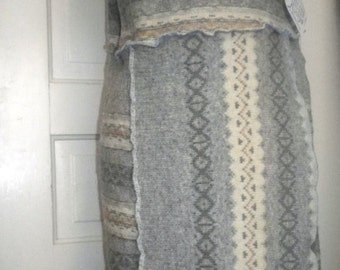 Winter Wool Jumper Upcycled Sweater Dress...smock, reuse, upcycle, recycle, eco-friendly, eco, hippie, patchwork, patches