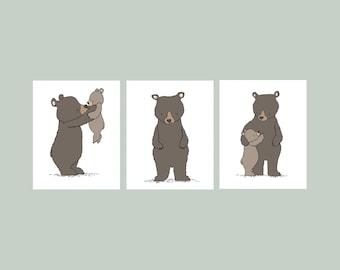 Woodland Nursery Art -- Bear Woodland Art Prints -- Set of 3 Prints -- Woodland Nursery Decor --  Kids Wall Art