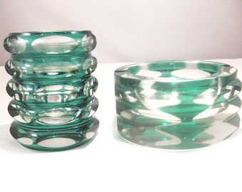 Teal Green Crystal Candle Holder/Vase & Ash Tray Cut To Clear