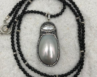 Black Onyx Necklace with CZ's spacers and Mabe Pearl Pendant