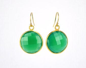 Green Onyx earrings, Gold earrings, Bridesmaid earrings, Gold Framed Stone Gift For Her Round Stone earrings May birthstone earrings Mothers