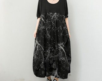 black oversized long dresses Women leisure round collar Long sleeve large size Dresses