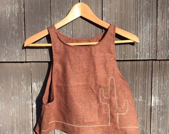 embroidered linen cactus top