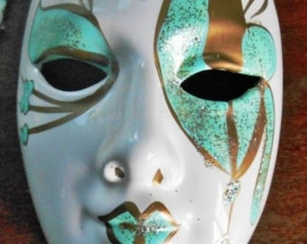 Mask Ceramic Davar Wall Hanging Mask - Green And Gold Glitter Masquerade on White Background