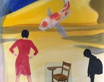 School Daze Surrealist Painting