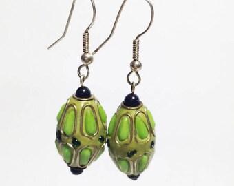 Green Handmade Enamel Earrings