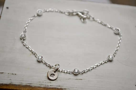 Sterling Silver Initial Bracelet | Up to 5 Initial Charms | Modern Mom Bracelet | Sterling Silver | Personalized Initial | Cubic Zirconia