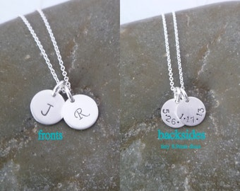 Double Sided Tiny 2 Disc Initial Necklace - Double Discs - Birthdate  - Date on Back - Tiny 8.9mm Sterling Silver Disc -