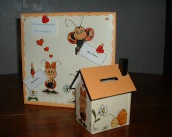 Ens.PORTE PHOTOS and love Ladybug piggy bank
