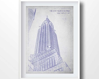 CHRYSLER BUILDING blueprints, old drawing, new york print, chrysler building printable, american art, travel decor, old map, line art, 6015