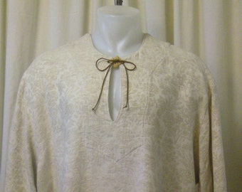 Pirate Shirt, Peasant Tunic, Renaissance Shirt, Fantasy Costume in Ivory Heathered Cotton Brocade, Long Sleeves, Size XL