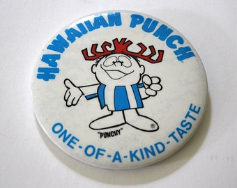 Vintage Hawaiian Punch Punchy One-Of-A-Kind-Taste Button Pin Retro Advertising