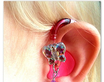 Tube Trinkets: Crystal Butterflies! ***Hearing Aid Charm sold separately***