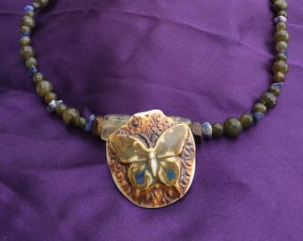 Butterfly Pendant Necklace with Labradorite and Sodalite