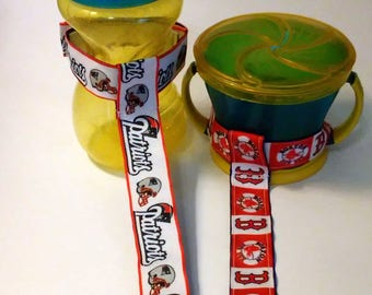 Boston Red Sox, Bruin, Celtics or Patriots Sippy Cup Straps - Sippy No Slippy