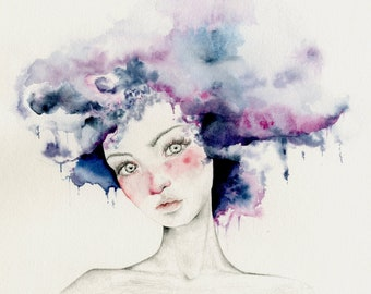 """Watercolor Painting of a Girl """"Angel"""" a Giclee Fine Art Print of My Original Watercolor Painting Pencil Drawing Purple Abstract Painting"""