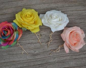Rainbow Wedding Flower Hair Clip- Colorful Real Touch Red Roses Hair Clip, Rose Hair Clips, Bridal Hair Flower, Flower Girls Hair Pin