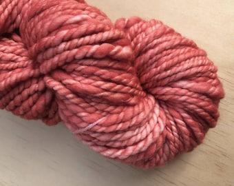 Handspun and hand dyed yarn, bulky handspun, coral pink yarn, merino yarn, yarn for weaving
