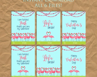 INSTANT DOWNLOAD - Flamingo Kid's Valentine's Day Cards