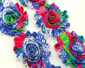 Blue red shabby rose trim - Shabby flower trim  - Shabby flowers by the yard - Shabby chiffon rosettes - Floral print flowers
