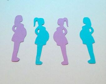 Baby Bump Confetti, Baby Shower Confetti,  Pregnant Mommy Die Cut, Confetti Party Decor, New Momma, Gender Reveal, Scrapbook Embellishment