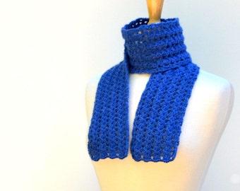 Crochet Lace Scarf Sapphire Blue Alpaca Neck Warmer
