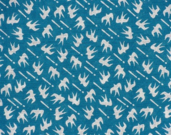 Tenugui 'Blue Green Swallows' Bird Fabric Japanese Cotton Gauze w/Free Insured Shipping