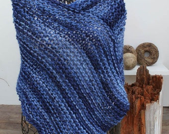 Blue Variegated Knit Poncho Hand Knit Wool Mohair Poncho Chunky Hand Knit Poncho Variegated Pacific Blue Poncho Woman's Poncho Cover Up