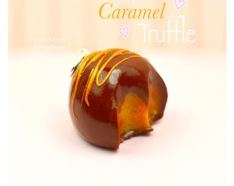 Caramel Truffle Charm Pendant Miniature Food Jewelry Polymer Clay Handmade Jewelry Gift Girl Necklace