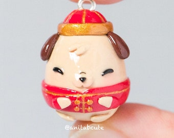 Polymer Clay Puppy in Chinese New Year Atire Kawaii Chibi Cute Charm
