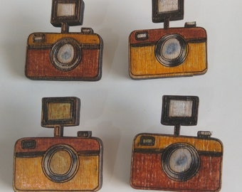 Wooden Hand Painted Camera Brooch (free shipping!)