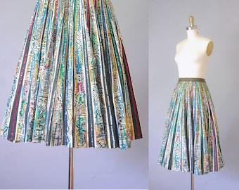Saguaro peint jupe mexicaine | nouveauté des années 1950 imprimer jupe |  jupe de cercle des années 50