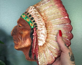 Indian Chief Head Native American Chalkware Wall Plaque