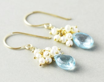 Blue Topaz Dangle Earrings, Pearl Cluster Earrings, December Birthstone, Bridesmaid Gift