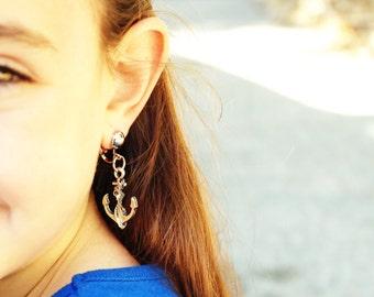 Anchor clip on earrings. nautical earrings. Girls clip on earrings.