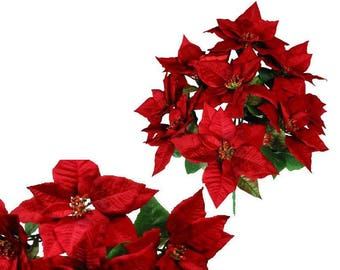 "9-Red Poinsettia 21"" Bush Home Office Christmas Holiday Decoration"