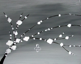 Four Piece Original Canvas Gray Painting Black Trees White Blossom Flowers Home Decor Art