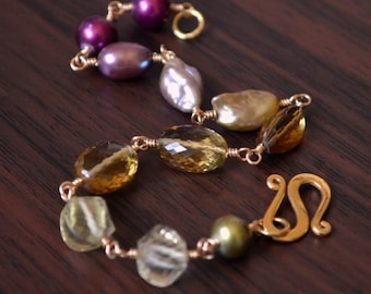 Plum and Olive Green Bracelet, Gold Filled, Real Freshwater Pearl, Honey Quartz Gemstone Jewelry - Changing Orchard - Free Shipping