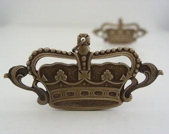 Vintage Pendant - Crown Pendant -  Brass Pendant - Vintage stamping - DIY Necklace - DIY Earrings - 2 Pcs