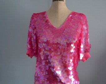 OLEG CASSINI Pink Round Sequined Top Blouse Street Style Free Shipping US
