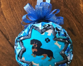 Dachshund Wiener Dog Fabric quilted ornament
