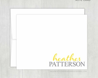 Personalized Stationery • Script Print Stacked {FOLDED} • 10 Note Cards with Envelopes • Personalized Stationary • Custom Thank You Cards