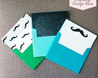 Printed Matching Envelope Liner   A2 Sized Liner   Wedding Liner   Mustache  Liner   Chalkboard Custom Liner   Will You Be My Groomsman