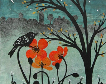 Silent Skyline - 11 x 14 inch Cut Paper Art Print