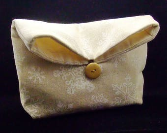 Foldover clutch, Fold over bag, clutch purse, evening clutch, wedding purse, bridesmaid gifts - Snowflakes (Ref. FC22)