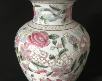 """Vintage Chinese Porcelain 9"""" Vase White with Flowers"""