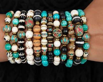 Bohemian Tribal Ethnic Style Beaded Bracelets / Bracelets For Women / Mala Beaded Bracelets / Bone Beaded Bracelets / Expressions Bracelets