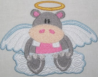 Machine Embroidery Design-Filled Design-Animal Angel-Hippo